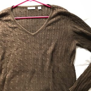 Lady Hathaway Brown Knit V-Neck Sweater